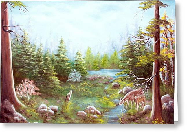 Greeting Card featuring the painting Deer And Stream by Joni McPherson