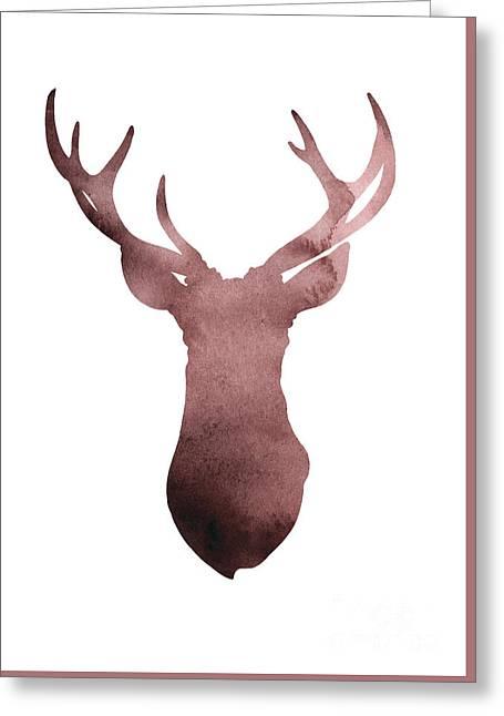 Deer Antlers Silhouette Minimalist Painting Greeting Card by Joanna Szmerdt