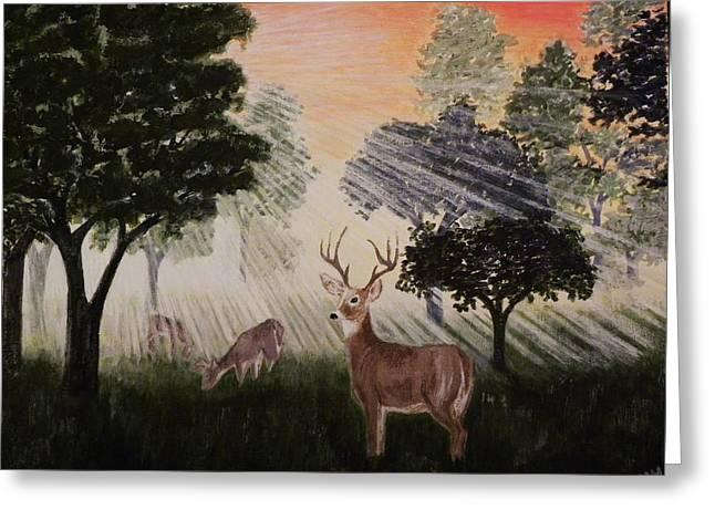 Deer At Dawn Greeting Card by G H Hisayasu
