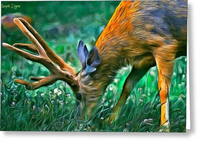 Deer At Lunch - Pa Greeting Card