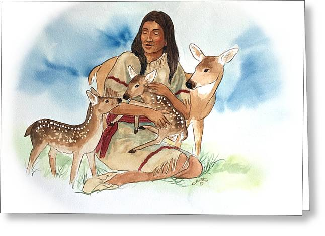 Deer Clan Mother Greeting Card by John Guthrie