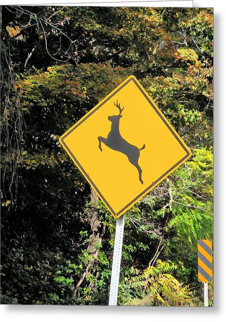 Deer Crossing Sign 2 Greeting Card