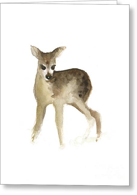 Deer Fawn Watercolor Painting Greeting Card by Joanna Szmerdt