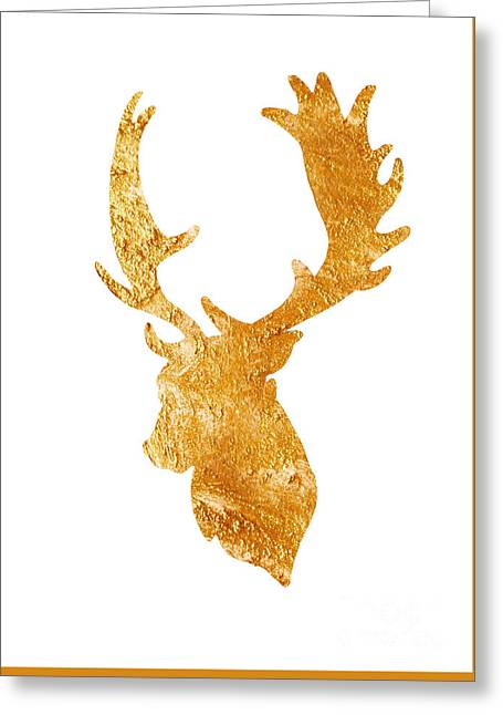 Deer Head Silhouette Drawing Greeting Card by Joanna Szmerdt