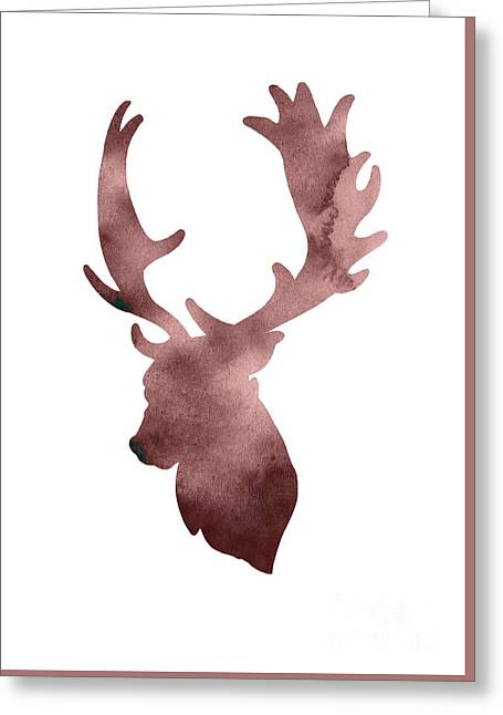 Deer Head Silhouette Minimalist Painting Greeting Card by Joanna Szmerdt