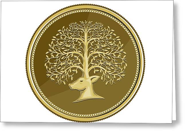 Deer Head Tree Antler Gold Coin Retro Greeting Card by Aloysius Patrimonio