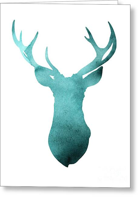 Deer Head Watercolor Giclee Print Greeting Card by Joanna Szmerdt
