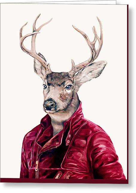 Deer In Leather Greeting Card by Animal Crew