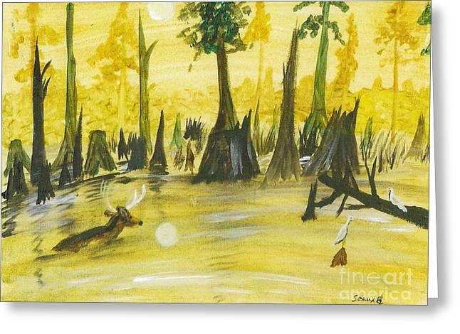 Deer In Swamp Greeting Card by Seaux-N-Seau Soileau