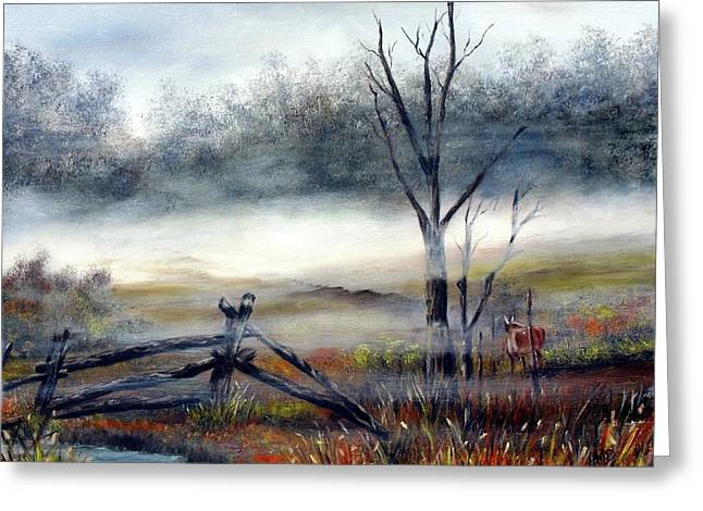 Greeting Card featuring the painting Deer In The Mist by Anna-Maria Dickinson