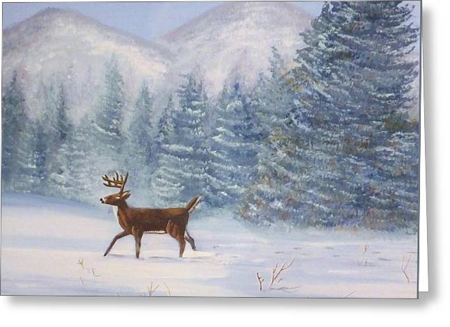 Deer In The Snow Greeting Card by Denise Fulmer