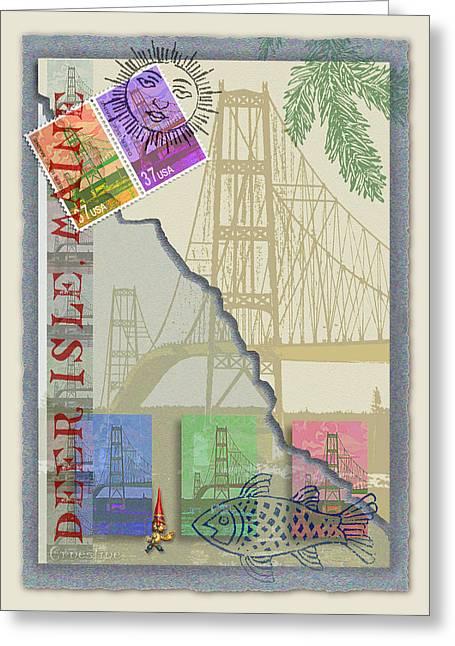 Deer Isle Collage Greeting Card by Ernestine Grindal