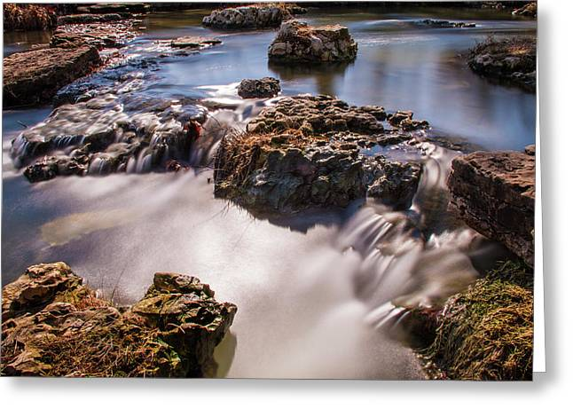 Deer Lake Riffles In Forest Park, St Louis, Missouri Greeting Card by Garry McMichael