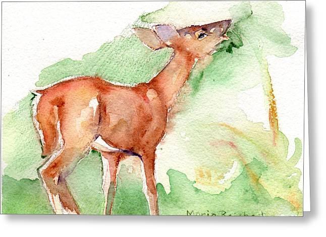 Deer Painting In Watercolor Greeting Card