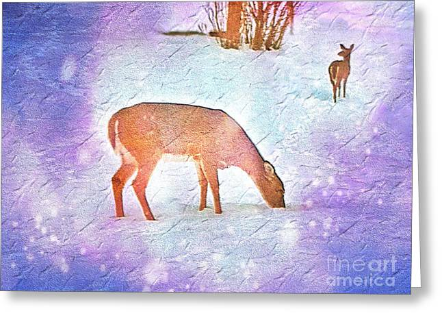 Deer Pair In Snow Bokeh On Rough Paper Texture Greeting Card by Shelly Weingart