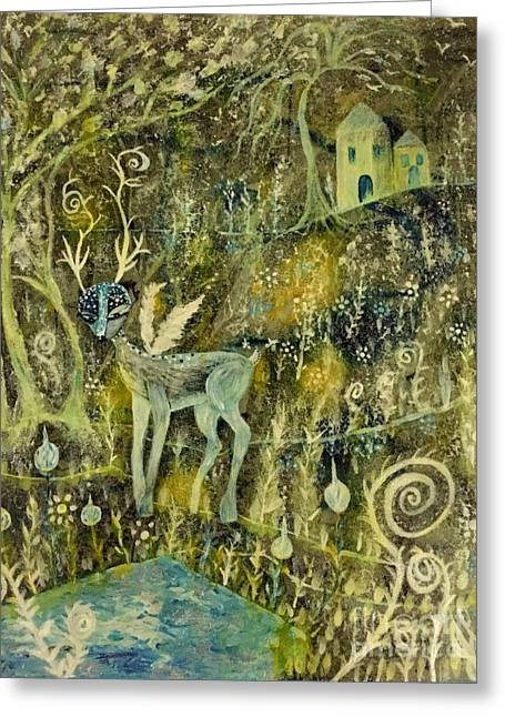 Greeting Card featuring the painting Deer Reflections by Julie Engelhardt