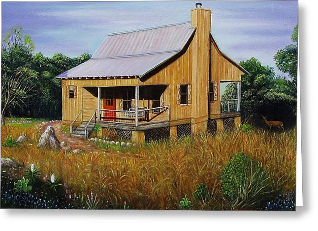 Deer Run Cabin Greeting Card