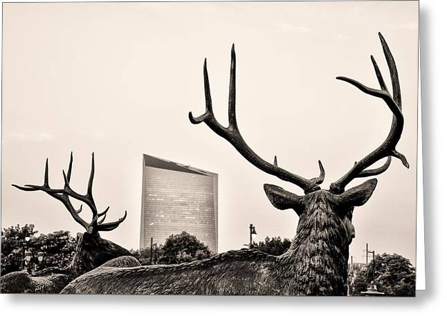 Deer Statues And The Cira Center In Sepia Greeting Card