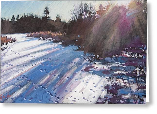 Deer Tracks Snowy River Greeting Card by Larry Seiler