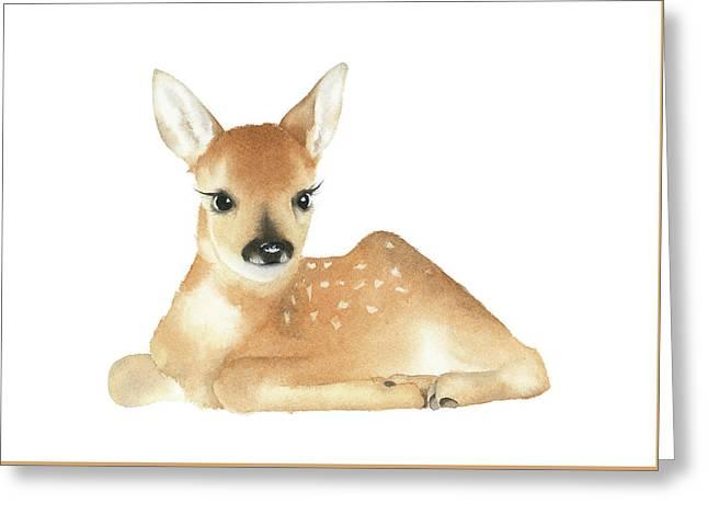 Greeting Card featuring the painting Deer Watercolor by Taylan Apukovska