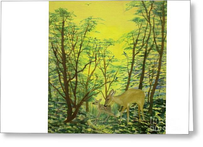 Deer With Fawn Greeting Card by Hal Newhouser