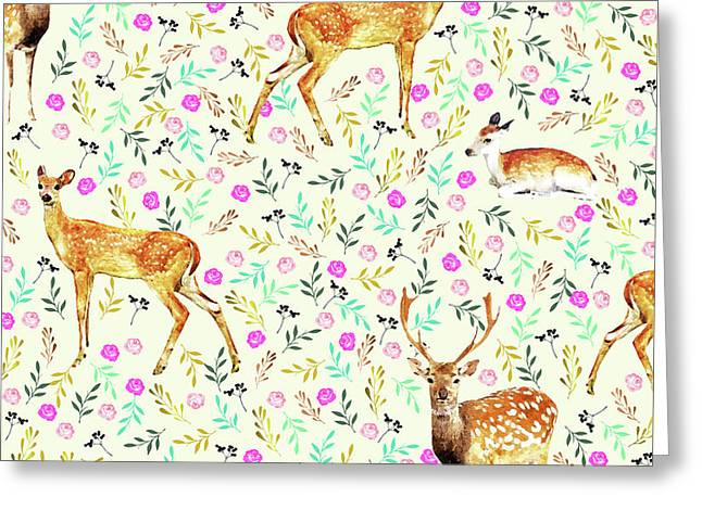 Deers Greeting Card by Uma Gokhale