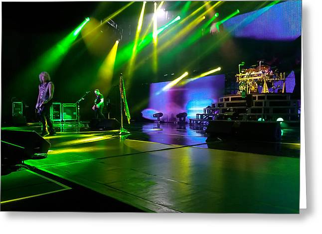 Def Leppard At Saratoga Springs Greeting Card by David Patterson
