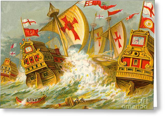 Defeat Of The Spanish Armada Greeting Card