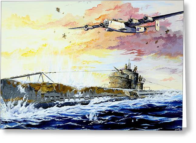 Defending The Coast Greeting Card by Charles Taylor