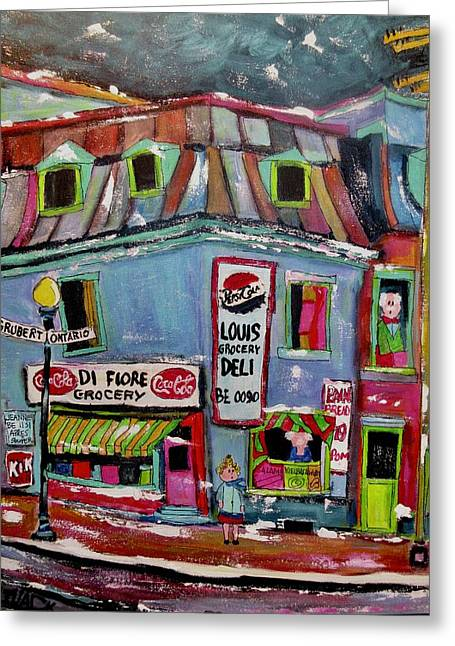 Vintage Defiore Grocery Store Gruber And Ontario Greeting Card by Michael Litvack