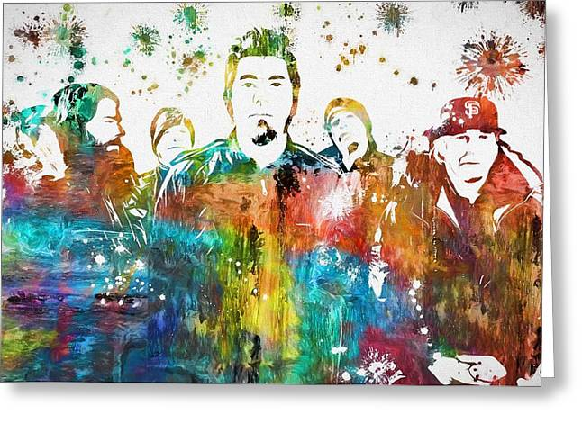 Deftones Paint Splatter Greeting Card by Dan Sproul