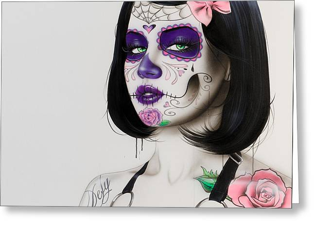 Sugar Skull - ' Defy ' Greeting Card by Christian Chapman Art