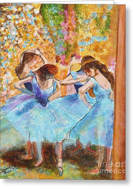 Degas Dancers In Blue Greeting Card by Pauline Ross