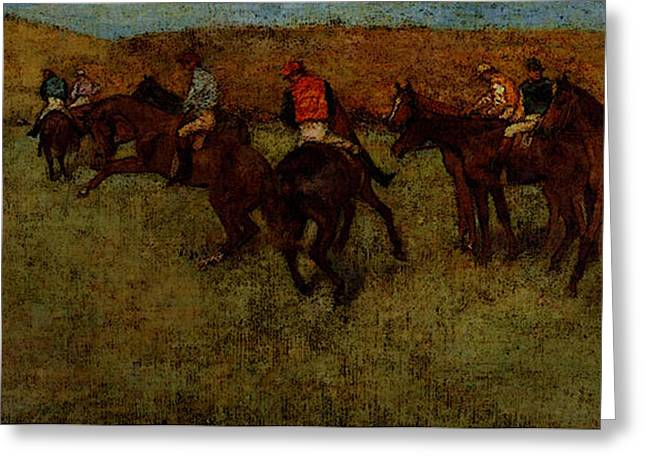 Degas Edgar At The Races Before The Start Greeting Card by Edgar Degas