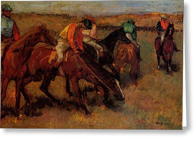 Degas Edgar Before The Race Greeting Card by Edgar Degas