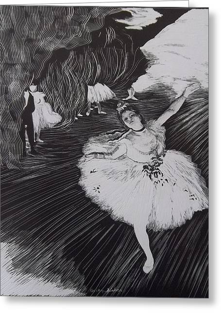 Degas' L'etoile In Scratchboard Greeting Card