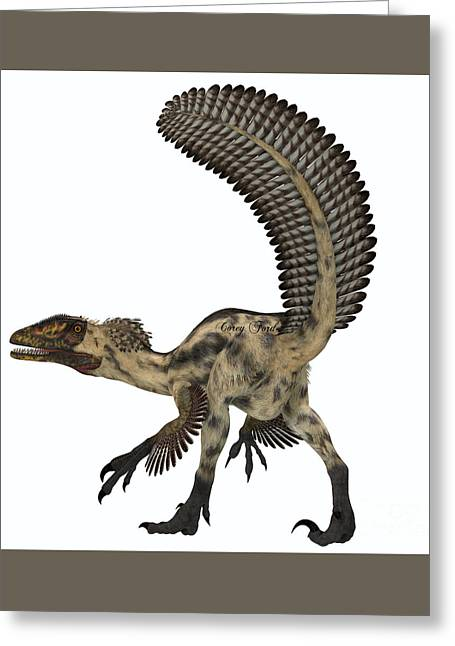 Deinonychus Dinosaur Greeting Card by Corey Ford