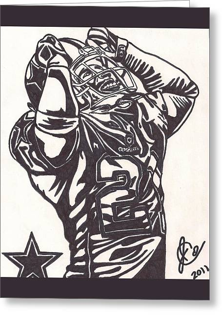Greeting Card featuring the drawing Deion Sanders by Jeremiah Colley