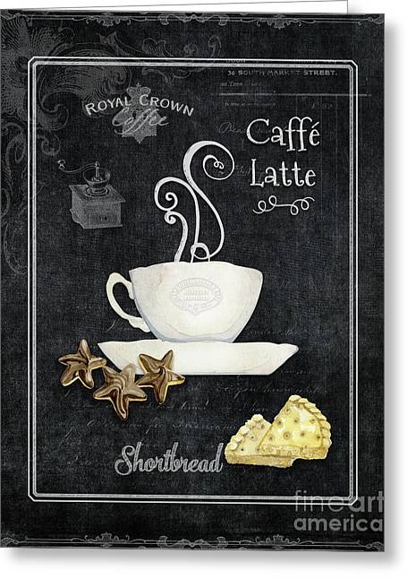 Greeting Card featuring the painting Deja Brew Chalkboard Coffee 2 Caffe Latte Shortbread Chocolate Cookies by Audrey Jeanne Roberts