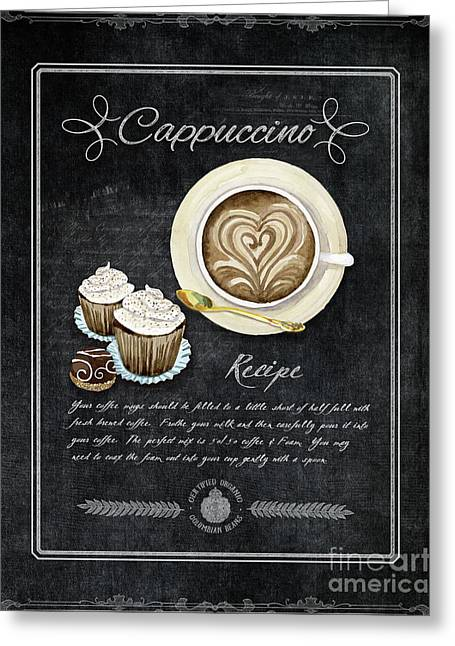 Greeting Card featuring the painting Deja Brew Chalkboard Coffee 3 Cappuccino Cupcakes Chocolate Recipe  by Audrey Jeanne Roberts