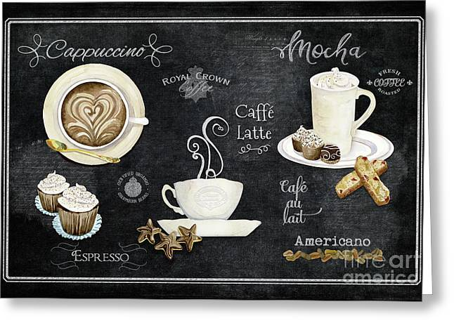 Greeting Card featuring the painting Deja Brew Chalkboard Coffee Cappuccino Mocha Caffe Latte by Audrey Jeanne Roberts