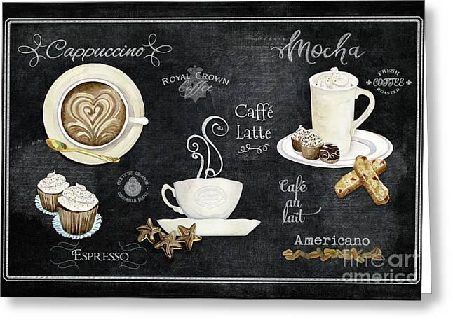 Deja Brew Chalkboard Coffee Cappuccino Mocha Caffe Latte Greeting Card by Audrey Jeanne Roberts