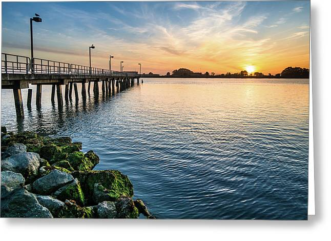 Greeting Card featuring the photograph Del Norte Pier And Spring Sunset by Greg Nyquist