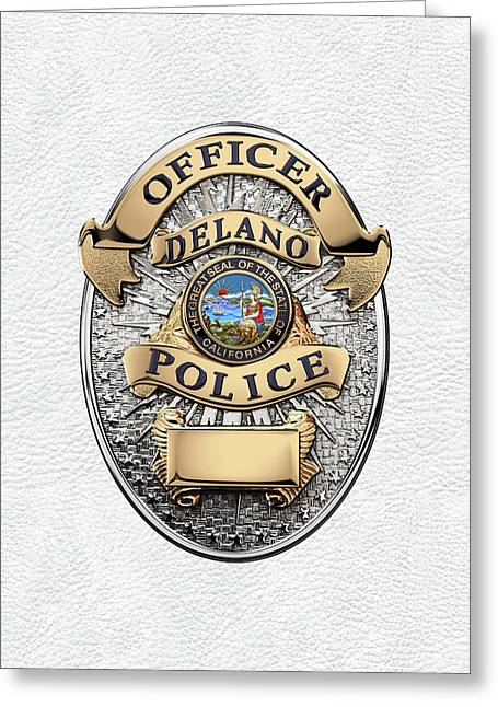 Delano Police Department - Officer Badge Over White Leather Greeting Card by Serge Averbukh