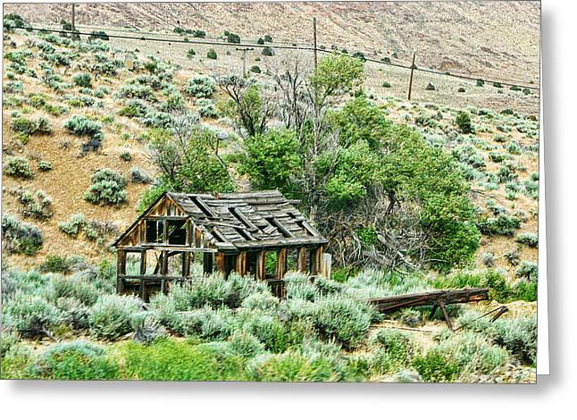 Westen Greeting Cards - Delapidated Old Western Shack Greeting Card by Linda Phelps