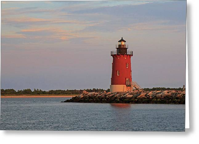 Greeting Card featuring the photograph Delaware Breakwater Light 2016 by Robert Pilkington