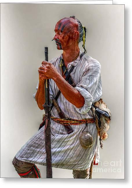 Delaware Indian Warrior Portrait 1763 Greeting Card by Randy Steele