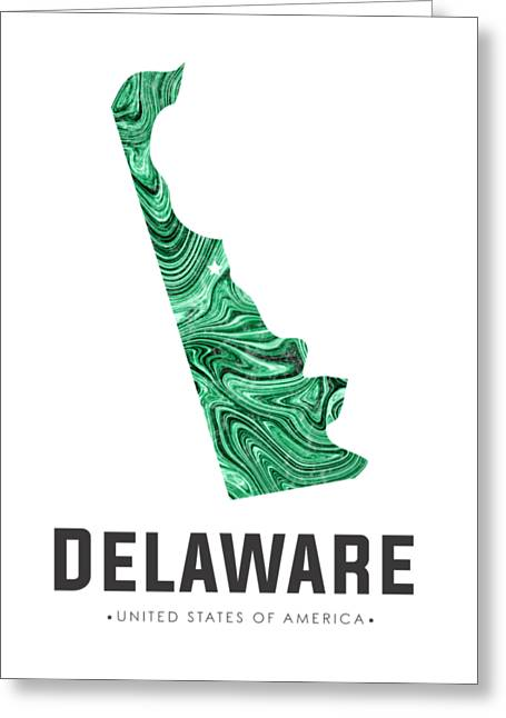 Delaware Map Art Abstract In Green Greeting Card