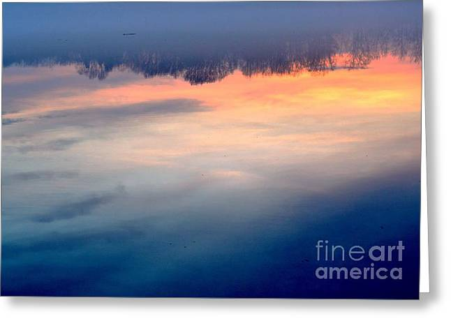 Delaware River Abstract Reflections Foggy Sunrise Nature Art Greeting Card