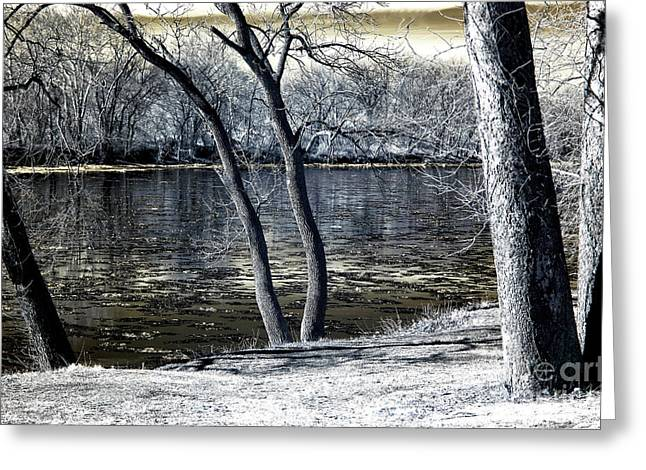 Delaware River Infrared Greeting Card by John Rizzuto